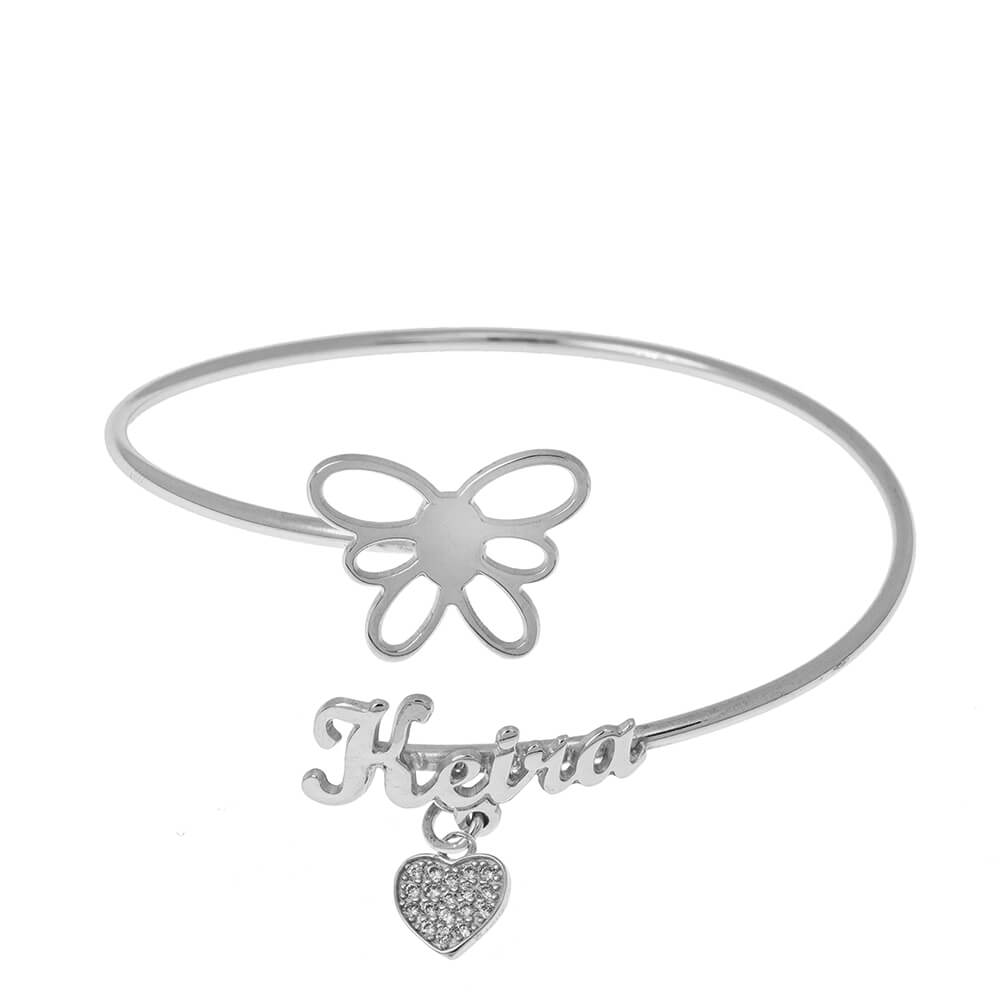 Flex Name Bracelet With Butterfly silver