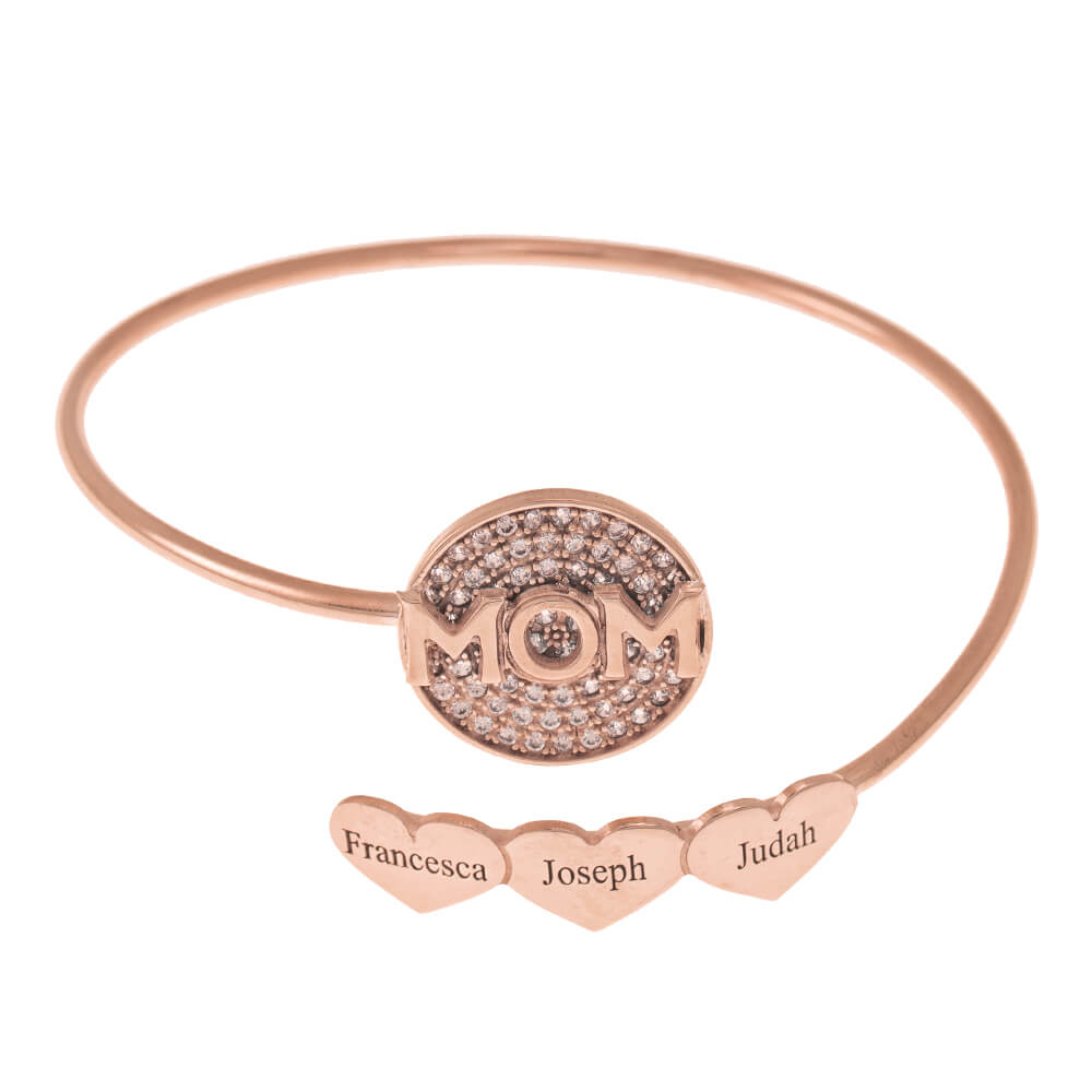 Inlay Mom Flex Bracelet With Hearts rose gold