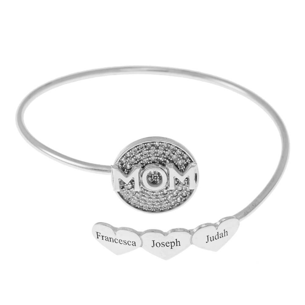 Inlay Mom Flex Bracelet With Hearts silver
