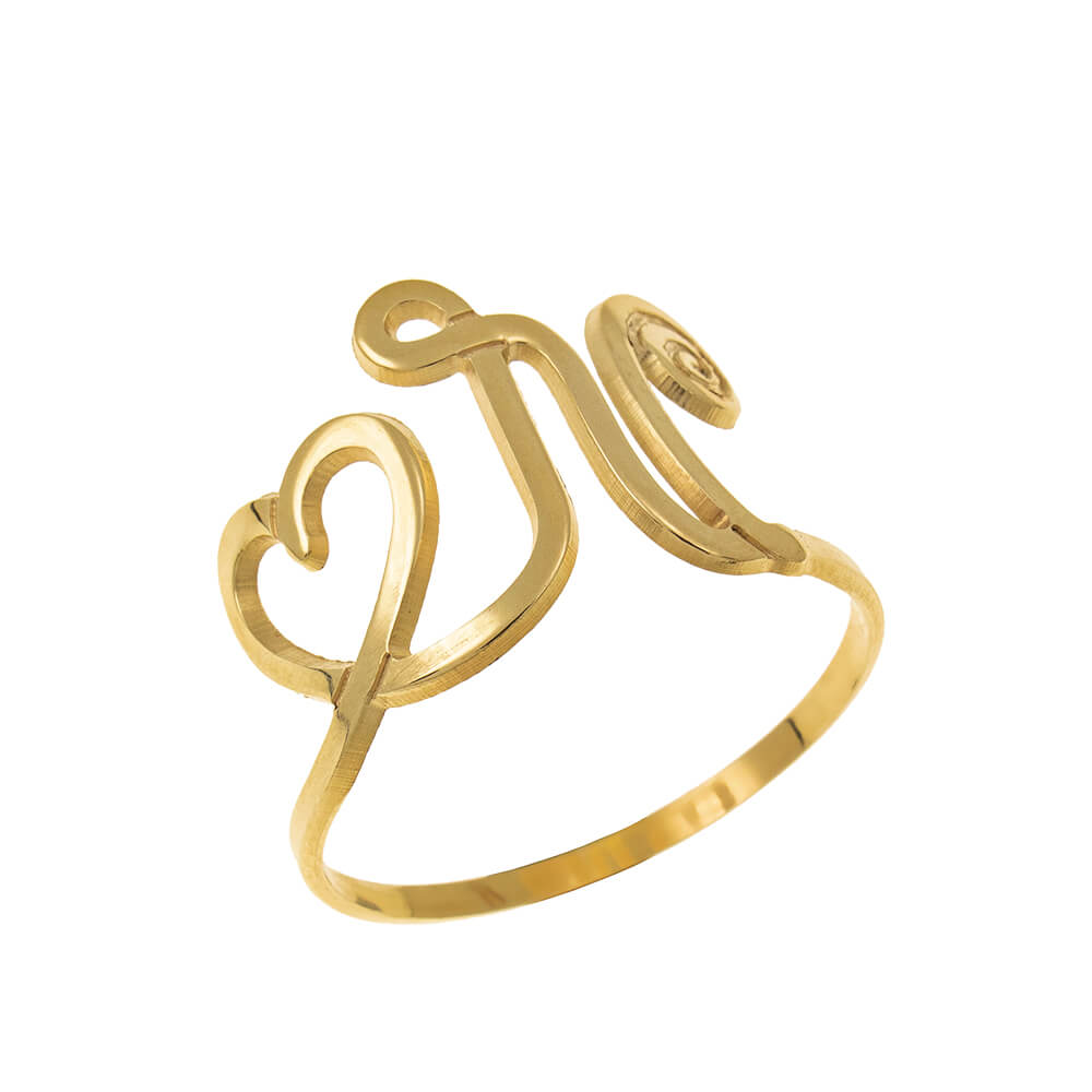Interlocking Heart and Initial Ring gold