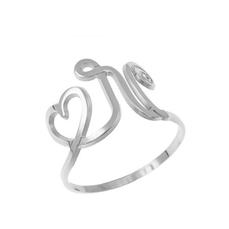 Interlocking Heart and Initial Ring