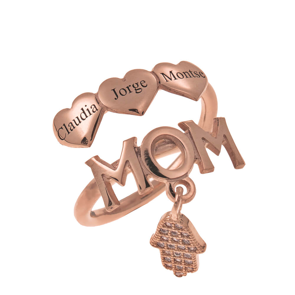MOM Names Ring With Hearts rose gold
