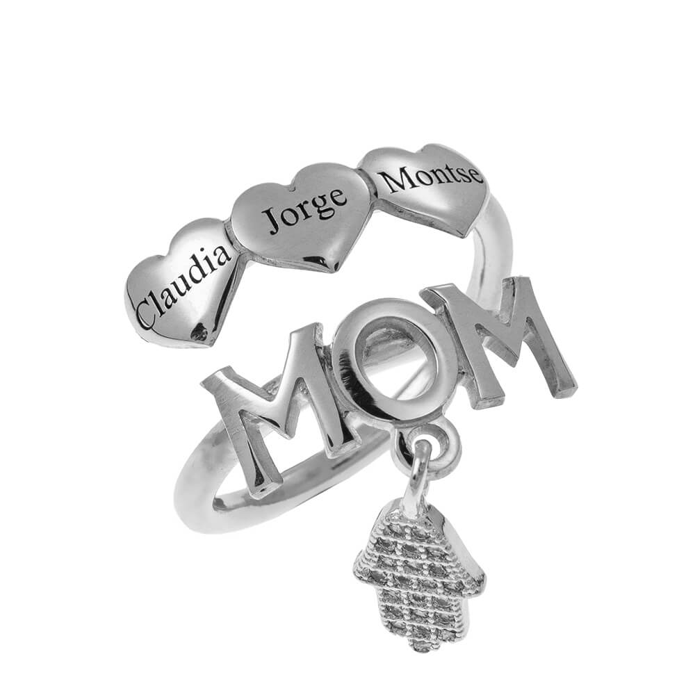 MOM Names Ring With Hearts silver