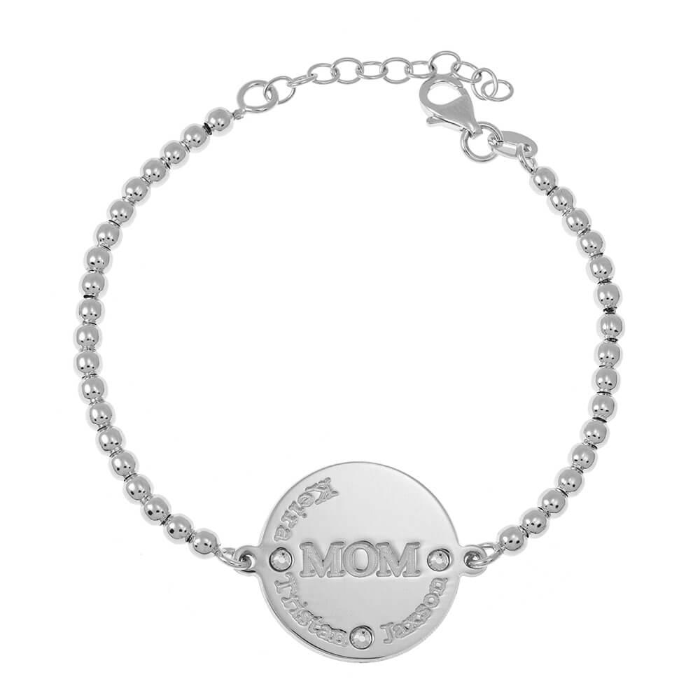 MoM Disc Bead Names Bracelet silver