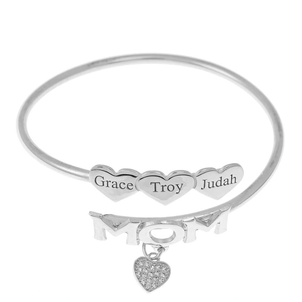 Mom Flex Bracelet With Hearts silver