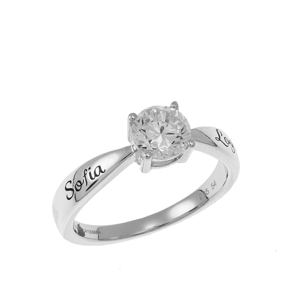 Personalized Solitaire Ring silver