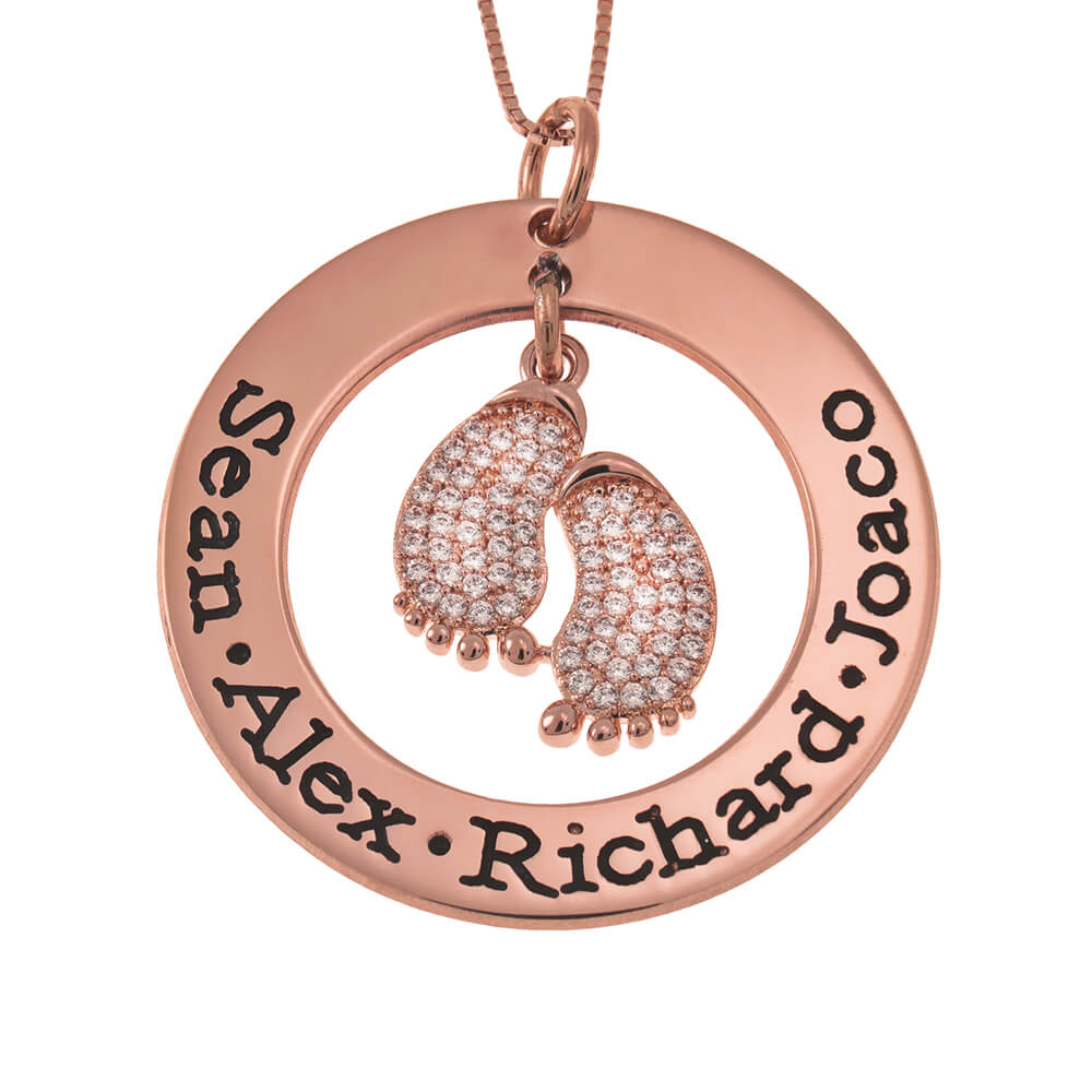 Round Mother Necklace With Inlay Baby Feet rose gold