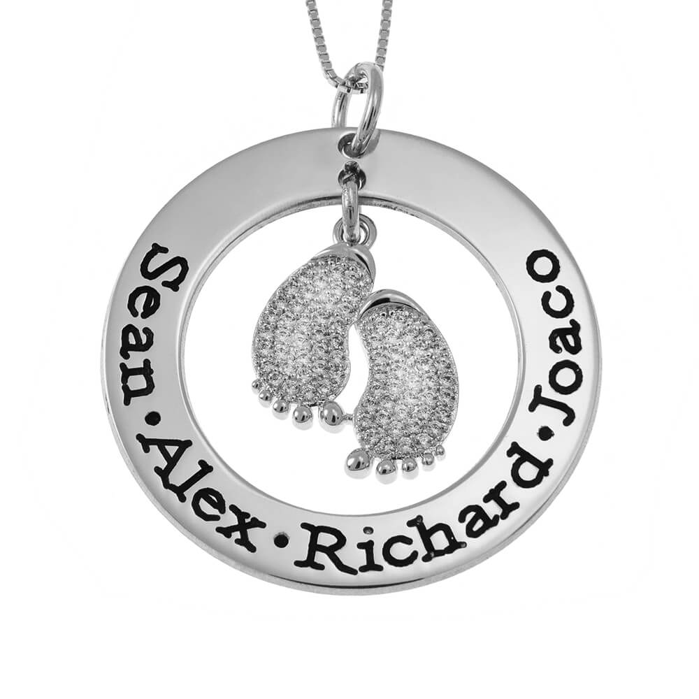 Round Mother Necklace With Inlay Baby Feet silver