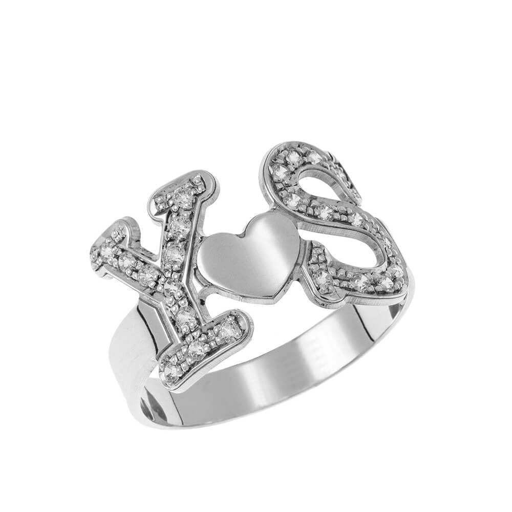 Two Initials Heart Ring silver