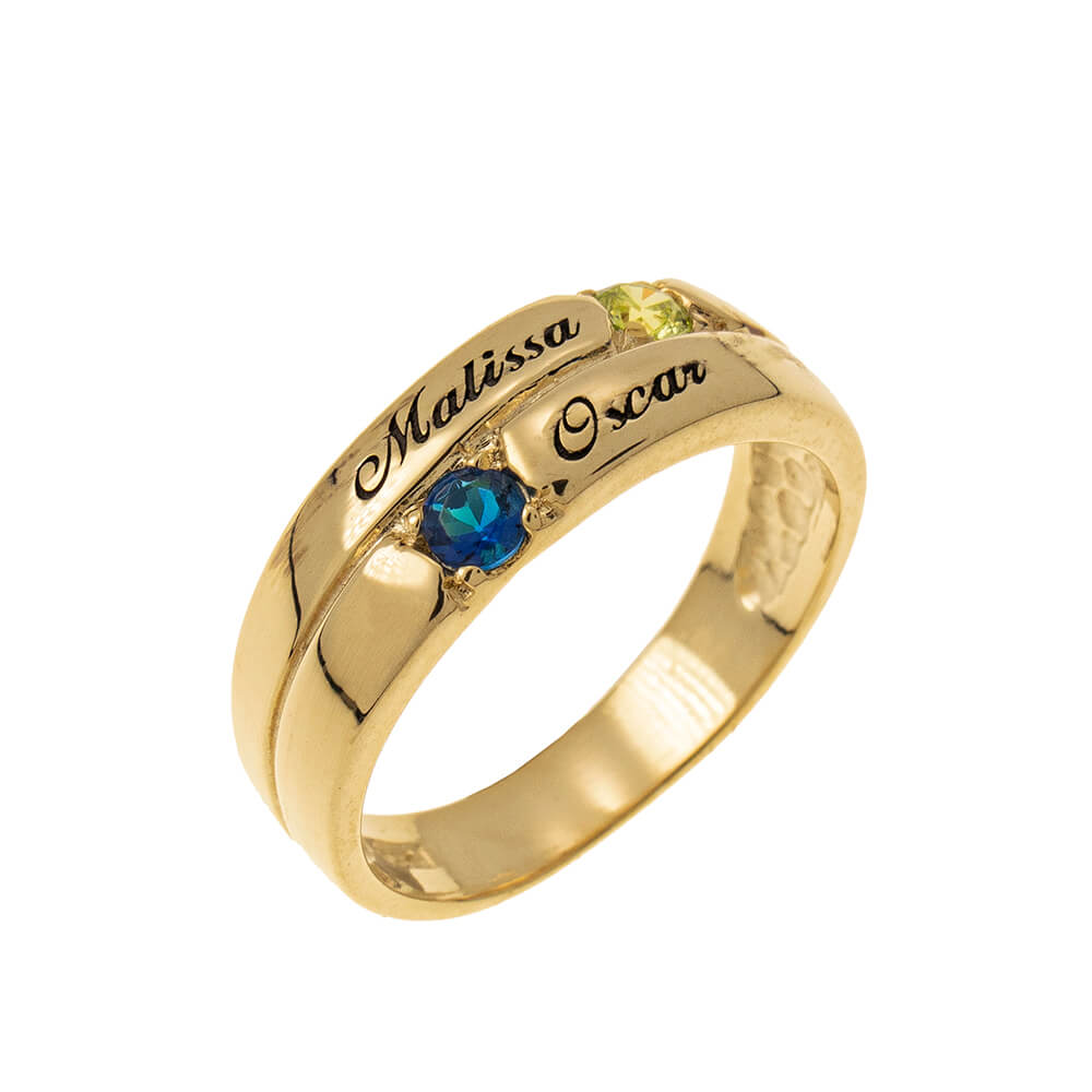2 Stones Mother Ring gold
