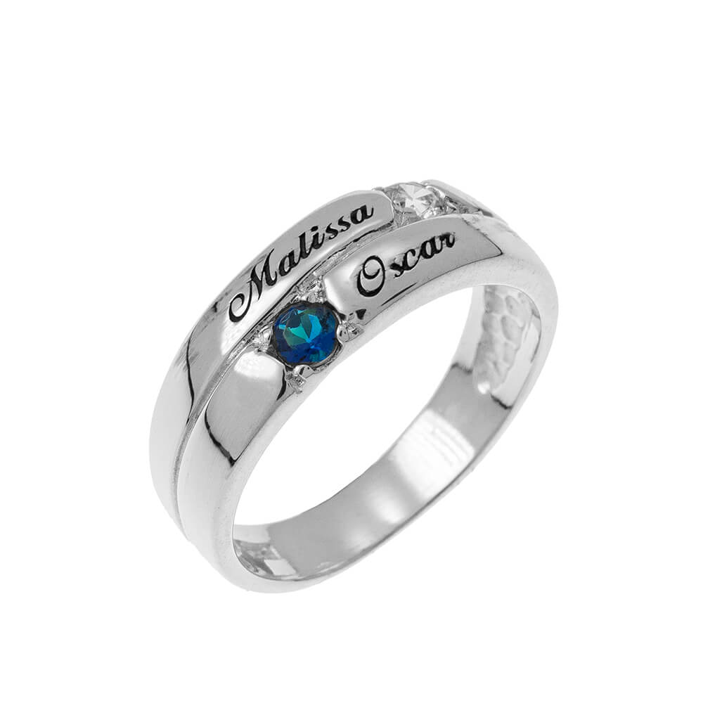 2 Stones Mother Ring silver