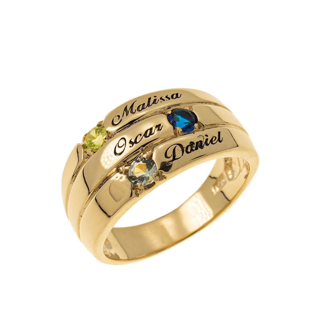3 Stones Mother Ring gold