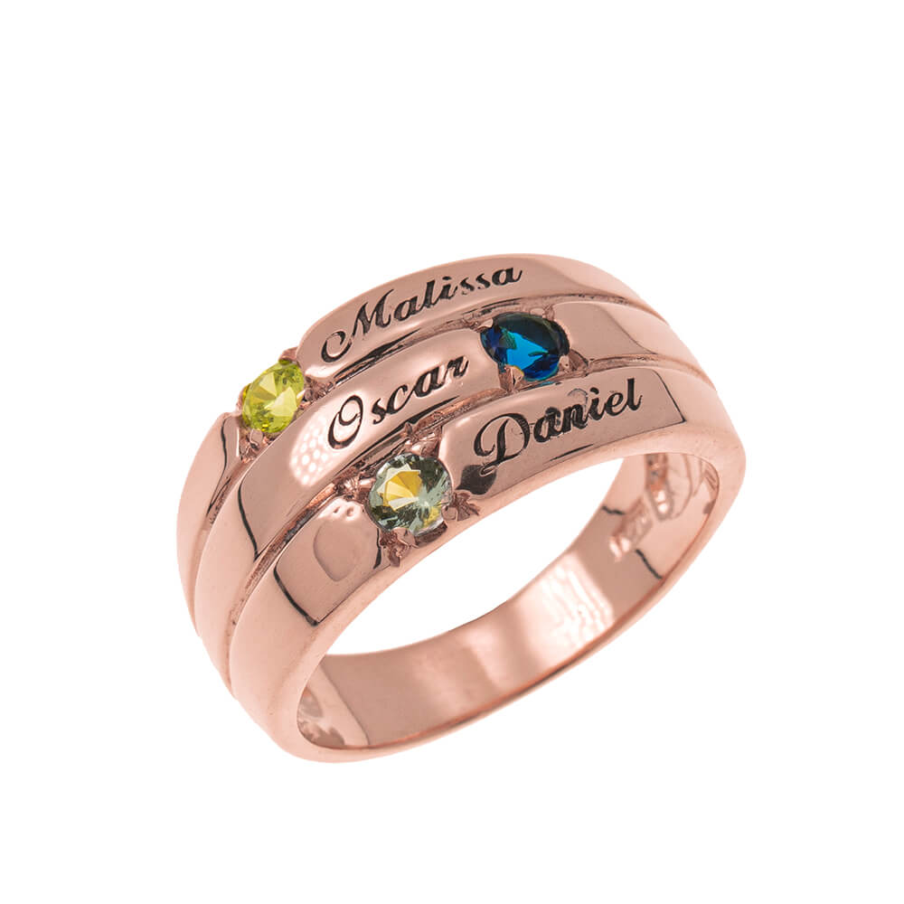 3 Stones Mother Ring rose gold
