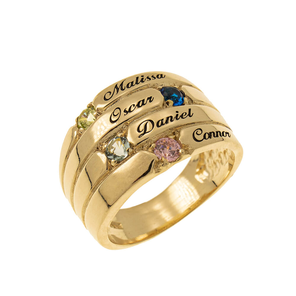 4 Stones Mother Ring gold