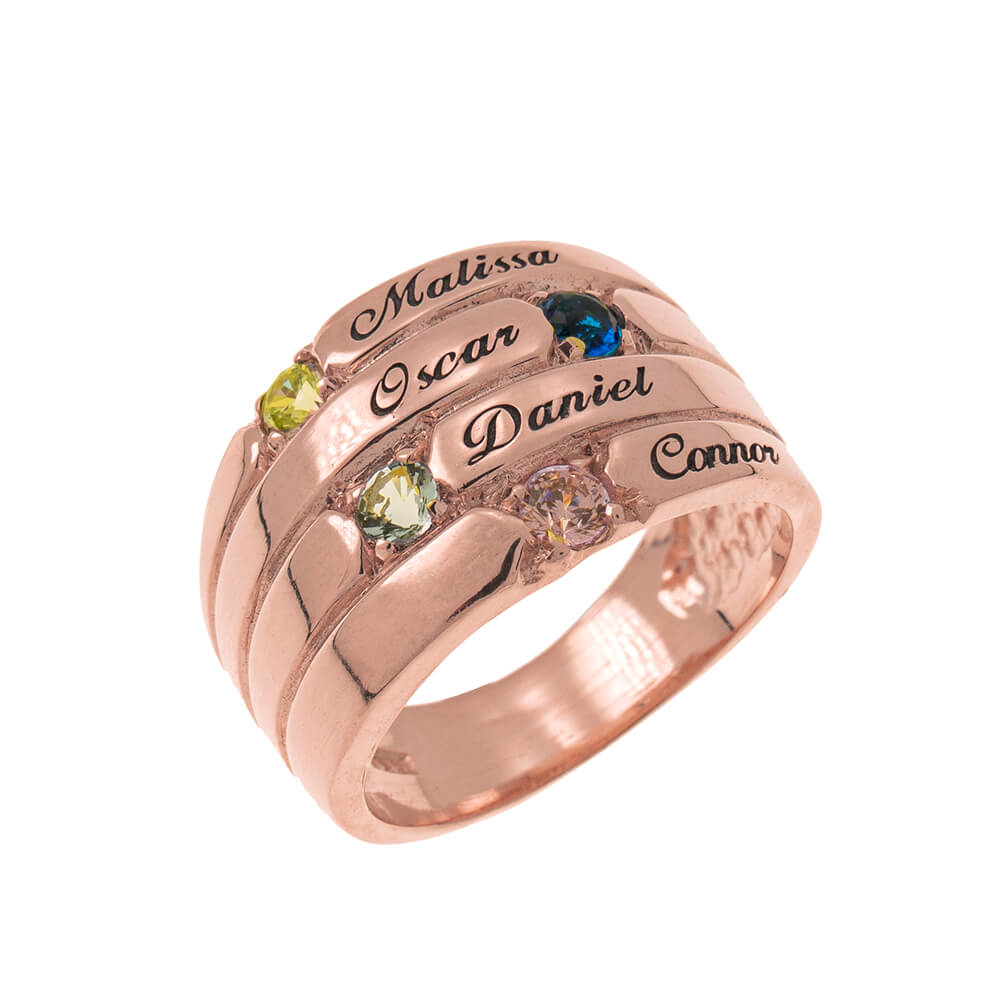 4 Stones Mother Ring rose gold