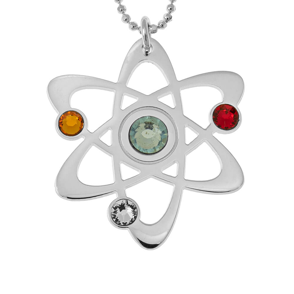 Atom Necklace with Birthstones silver
