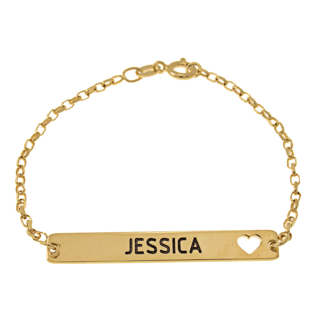 Bar Name and Cut Out Heart Bracelet gold