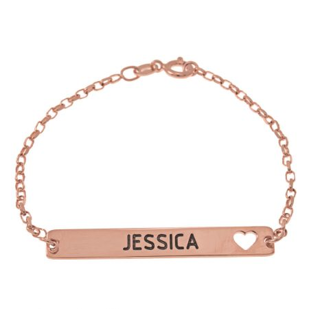 Bar Name and Cut Out Heart Bracelet