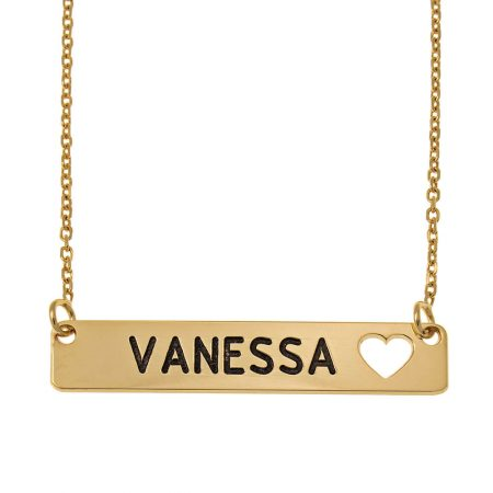 Bar Necklace with Cut out Heart