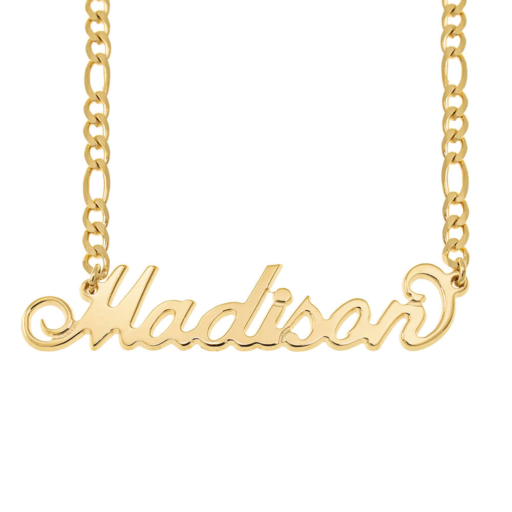 Carrie Name Necklace with Figaro Chain gold