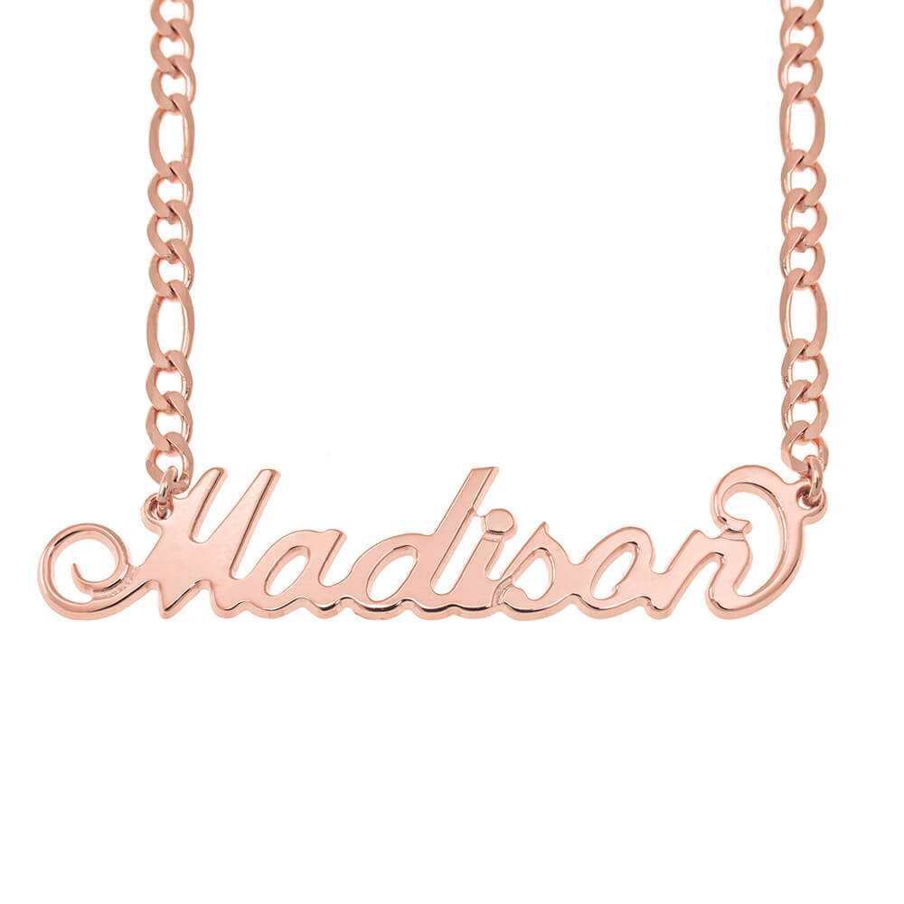 Carrie Name Necklace with Figaro Chain rose gold