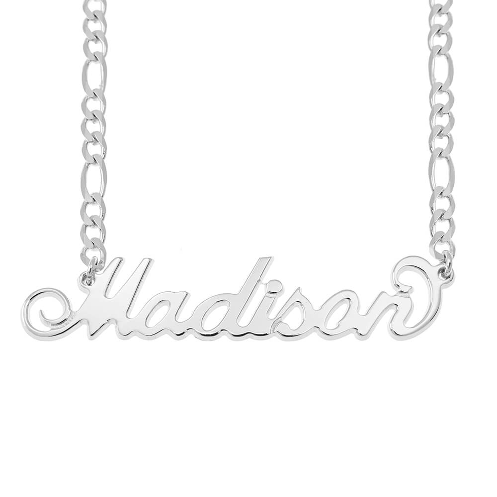 Carrie Name Necklace with Figaro Chain silver