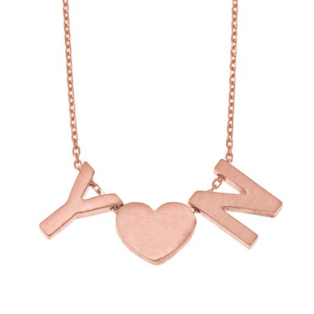 Chunky Matte Initials Heart Necklace