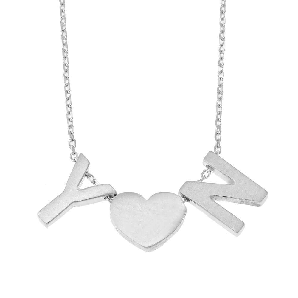 Chunky Initials Heart Necklace silver