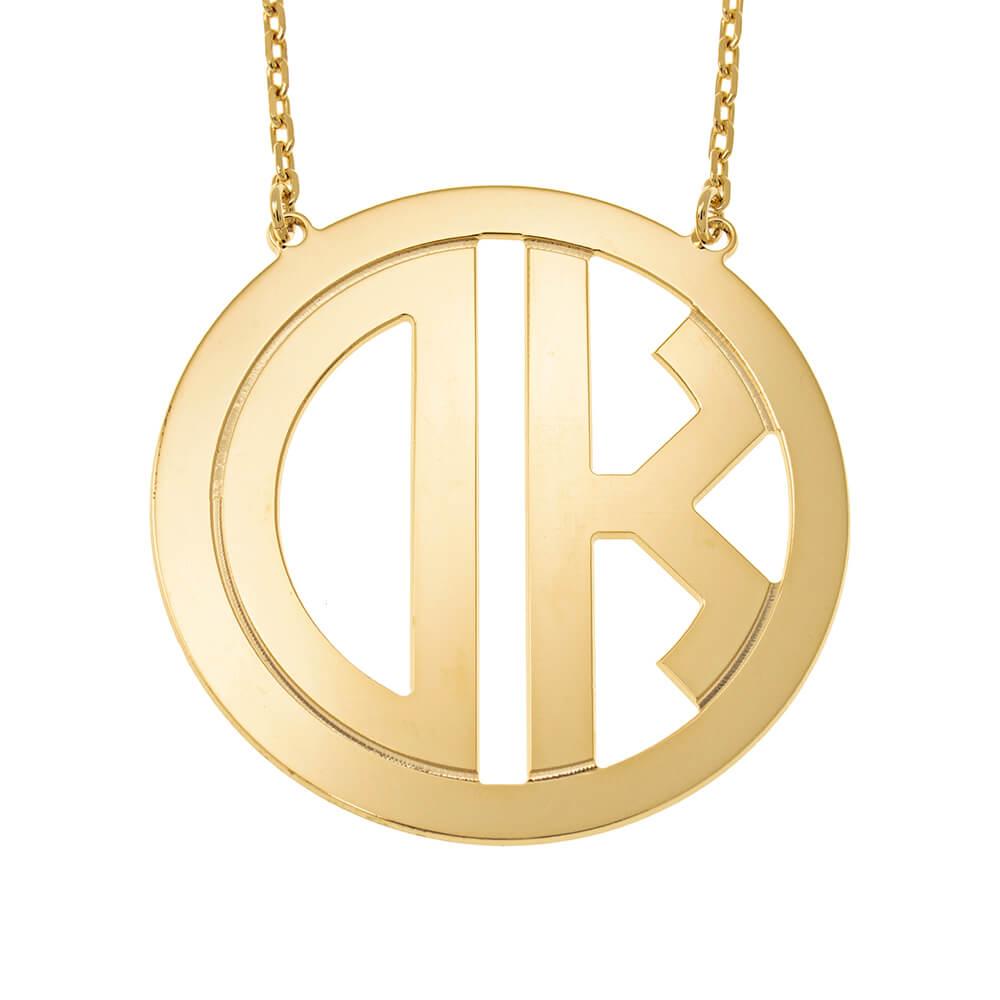 Circle Block Monogram Necklace gold