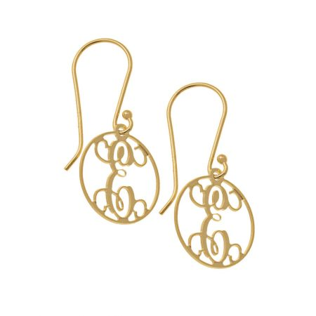 Circle Dangle Monogrammed Earrings