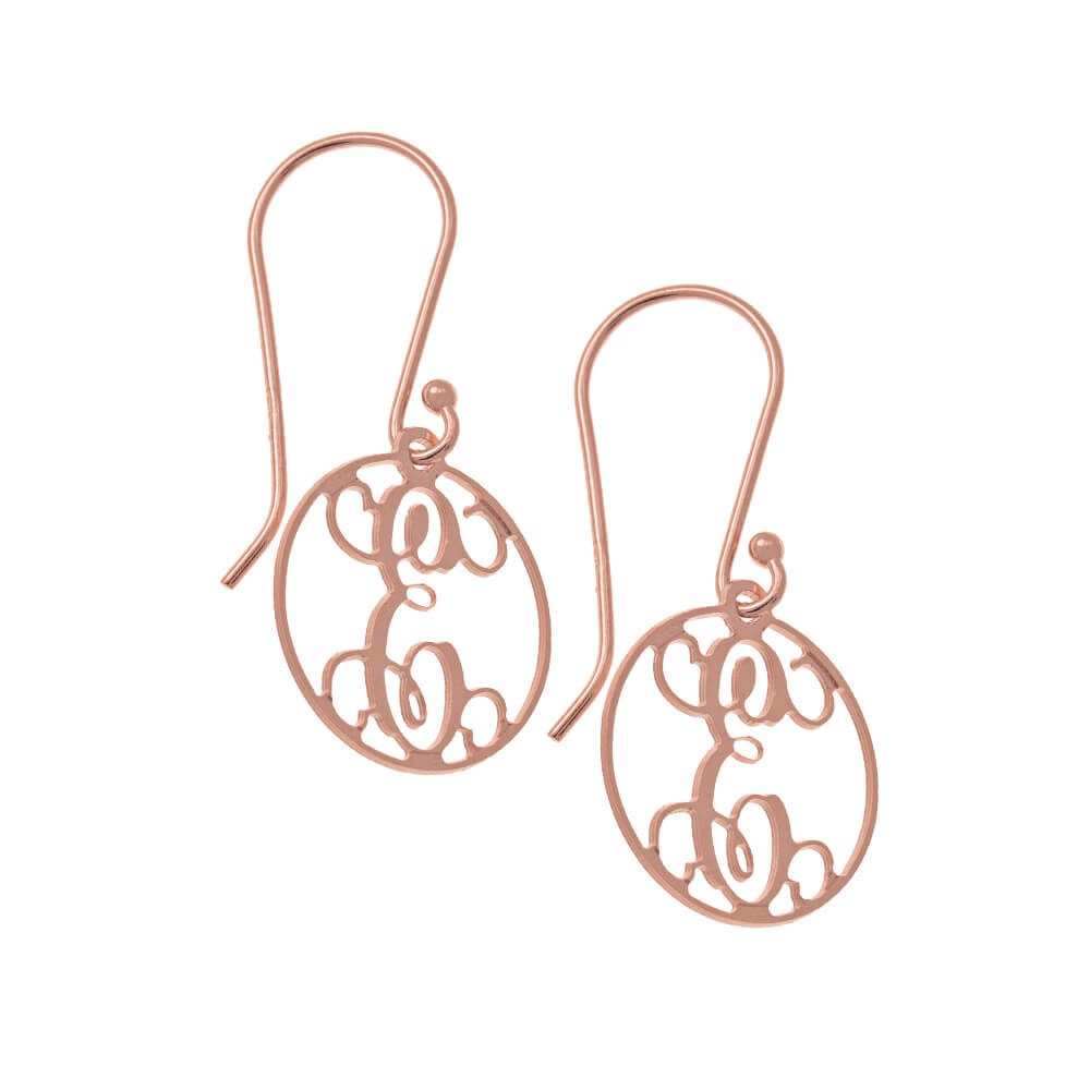 Circle Dangle Monogrammed Earrings rose gold