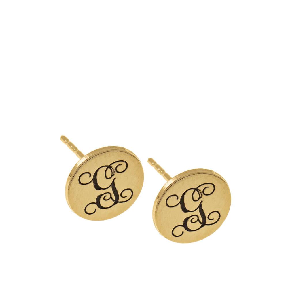 Circle Monogram Stud Earrings gold
