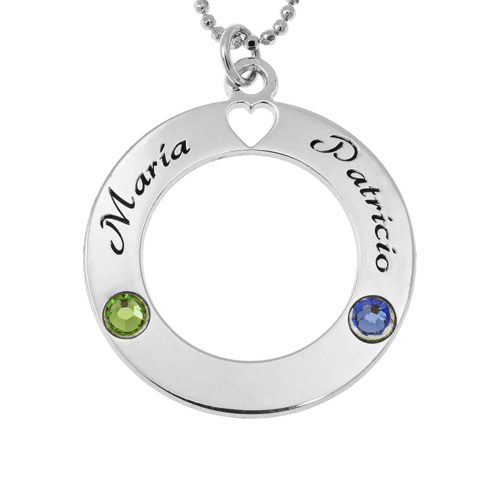 Circle of Love Necklace with Birthstones silver