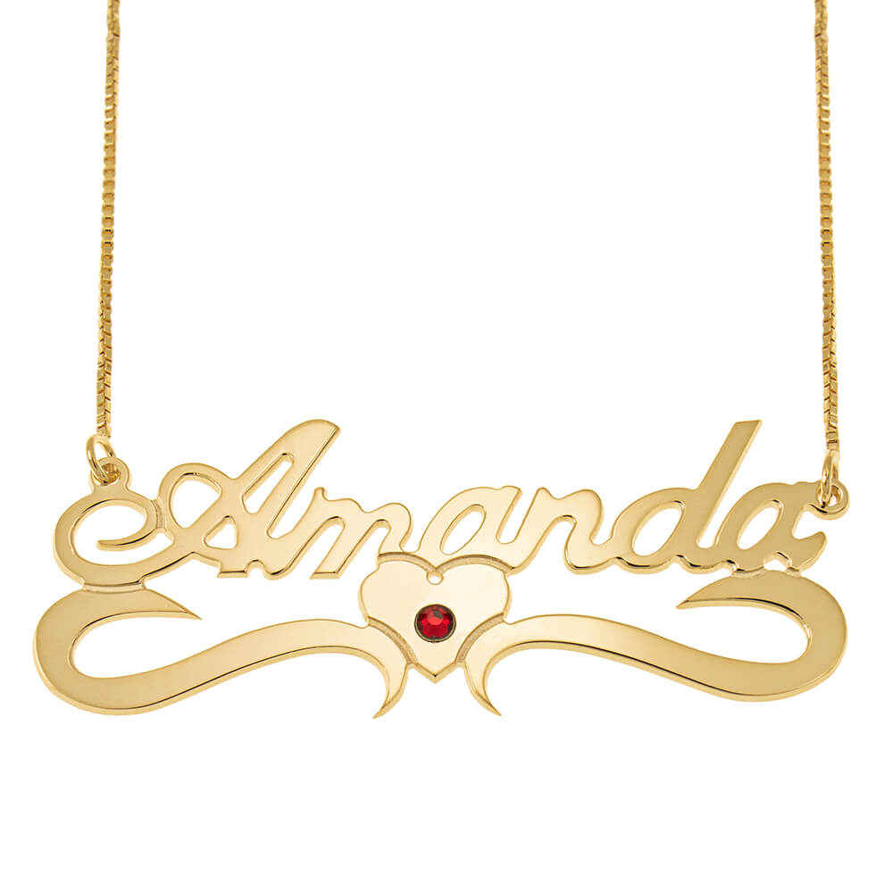 Classic Middle Heart Box Name Necklace With Birthstone gold