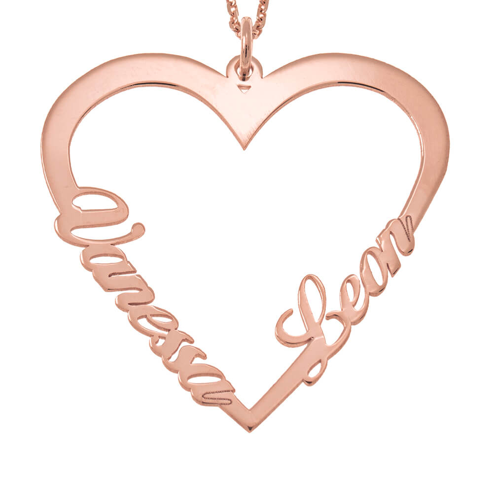 Couple Heart Name Necklace rose gold