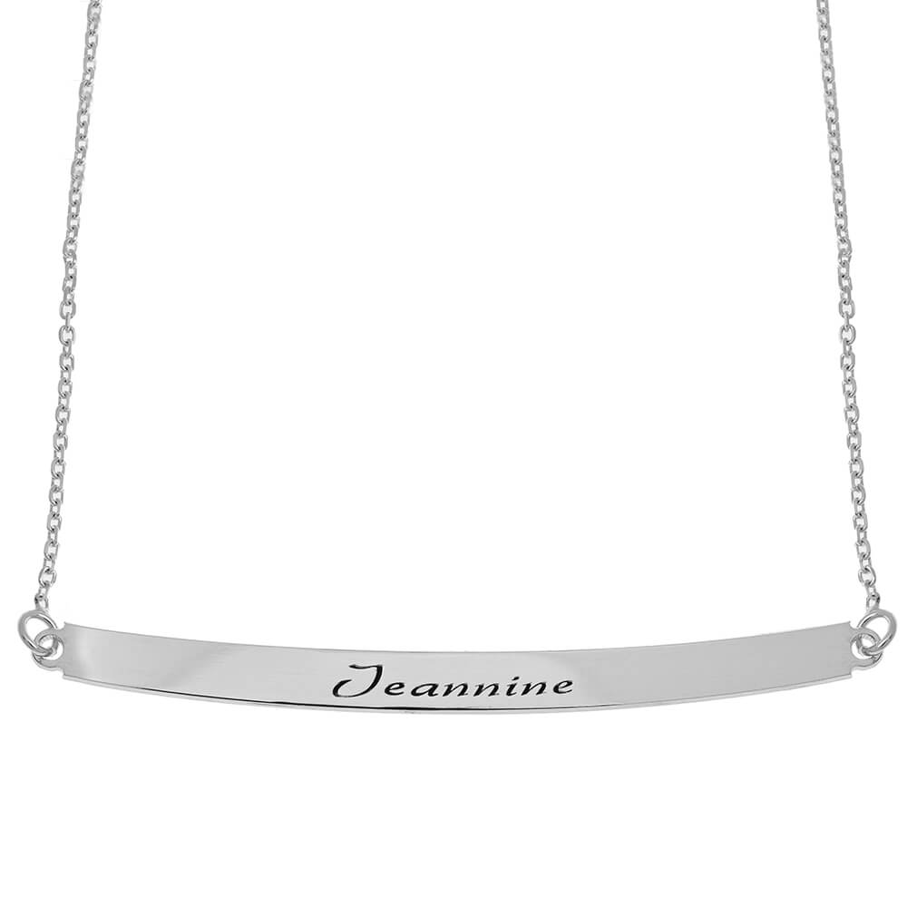 Curved Name Plate Necklace silver
