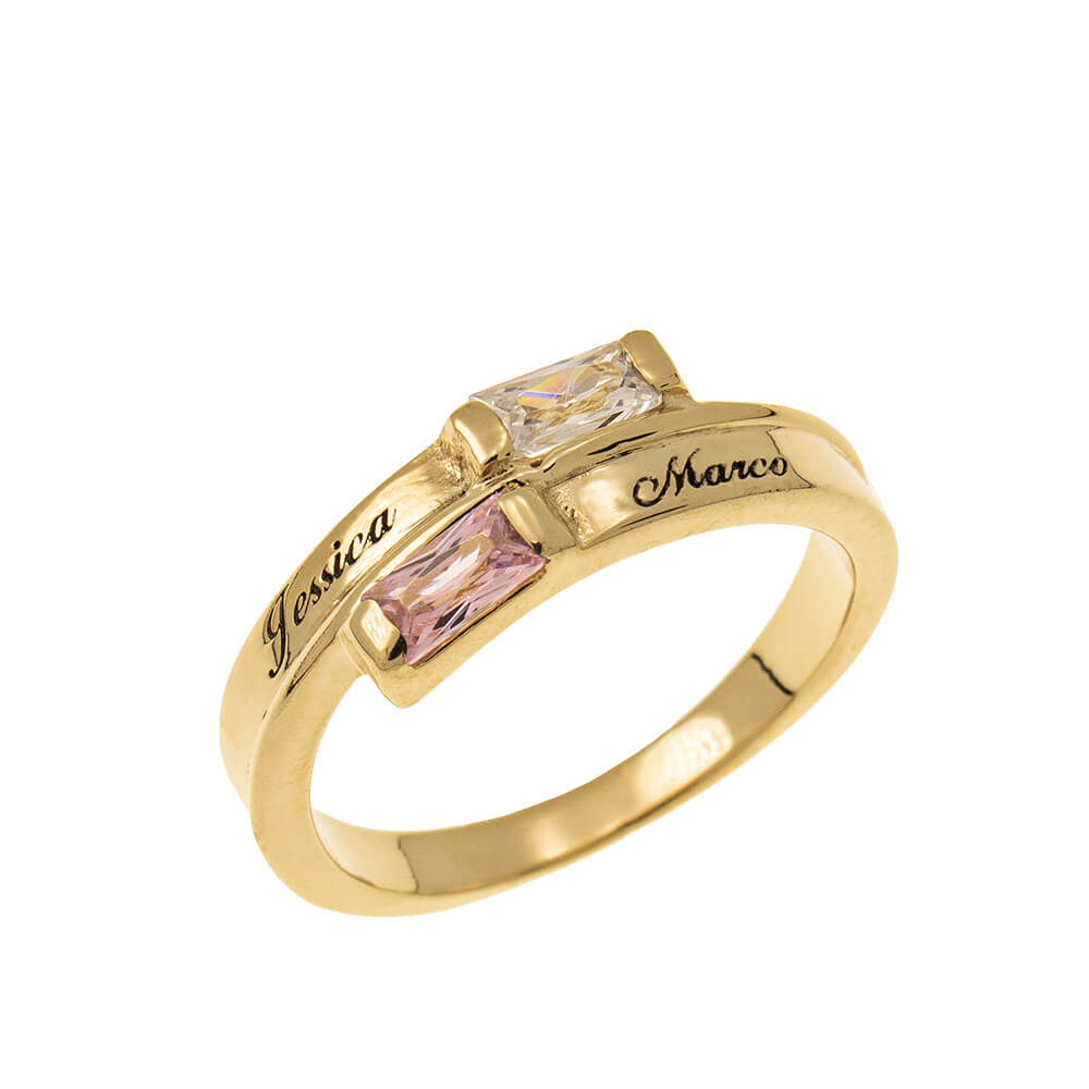 Custom Wrap Promise Ring with Birthstones gold
