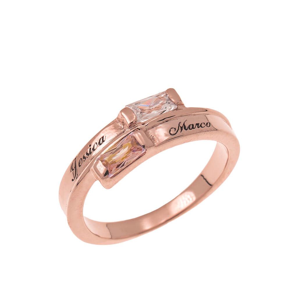 Custom Wrap Promise Ring with Birthstones rose gold