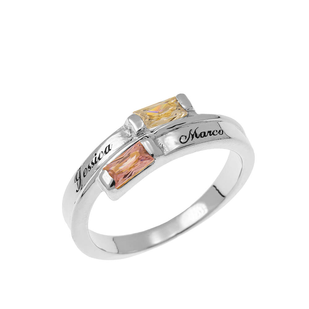 Custom Wrap Promise Ring with Birthstones silver