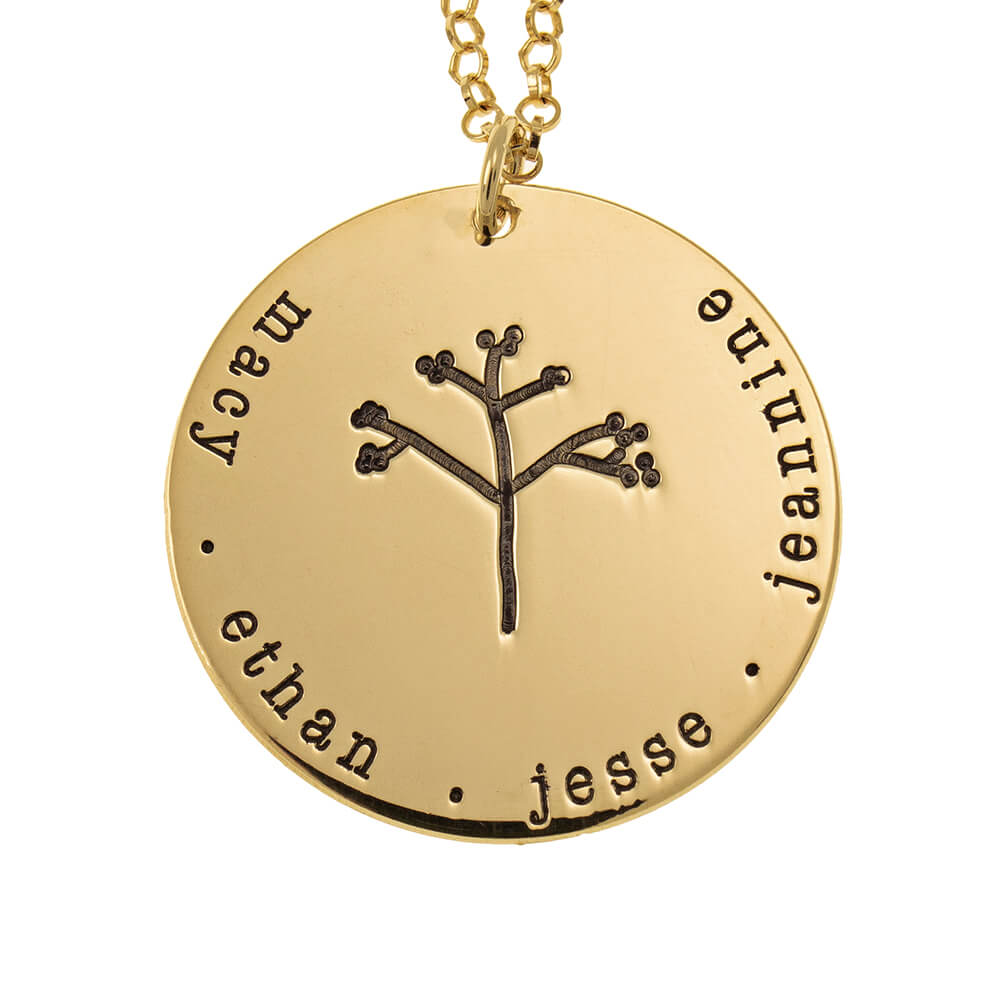 Disc Family Tree Necklace gold