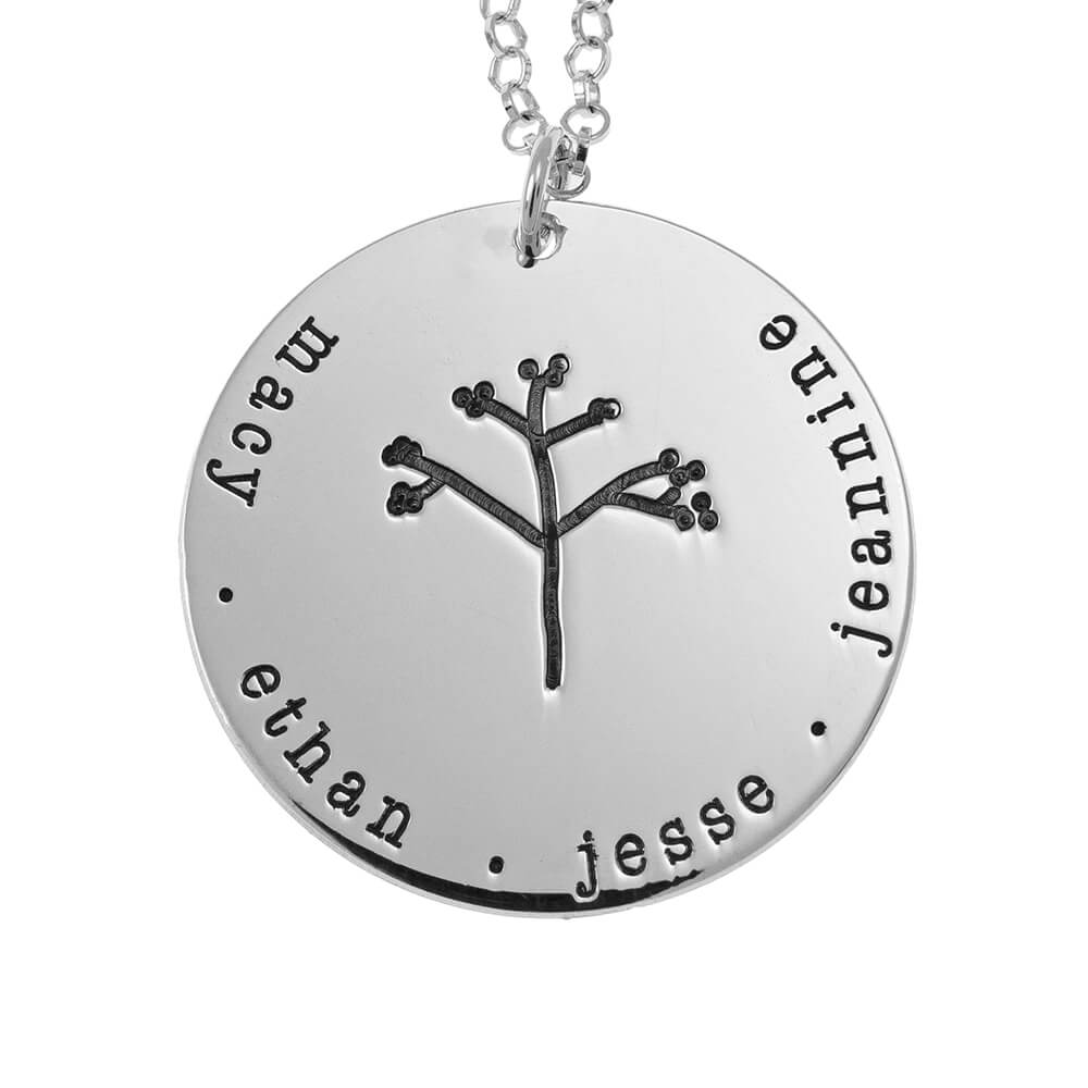 Disc Family Tree Necklace silver