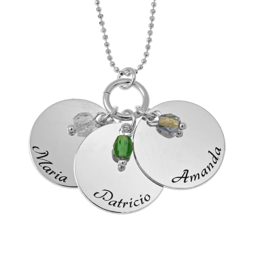 Elegant Three Discs with Birthstone Charms Necklace silver
