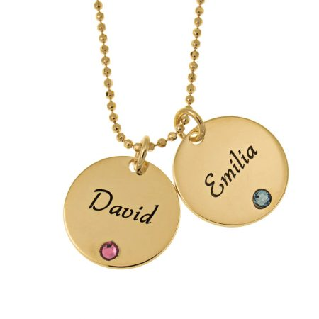 Elegant Two Discs with Birthstones Necklace