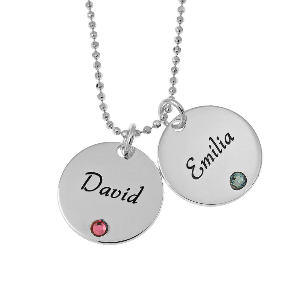 Elegant Two Discs with Birthstones Necklace silver
