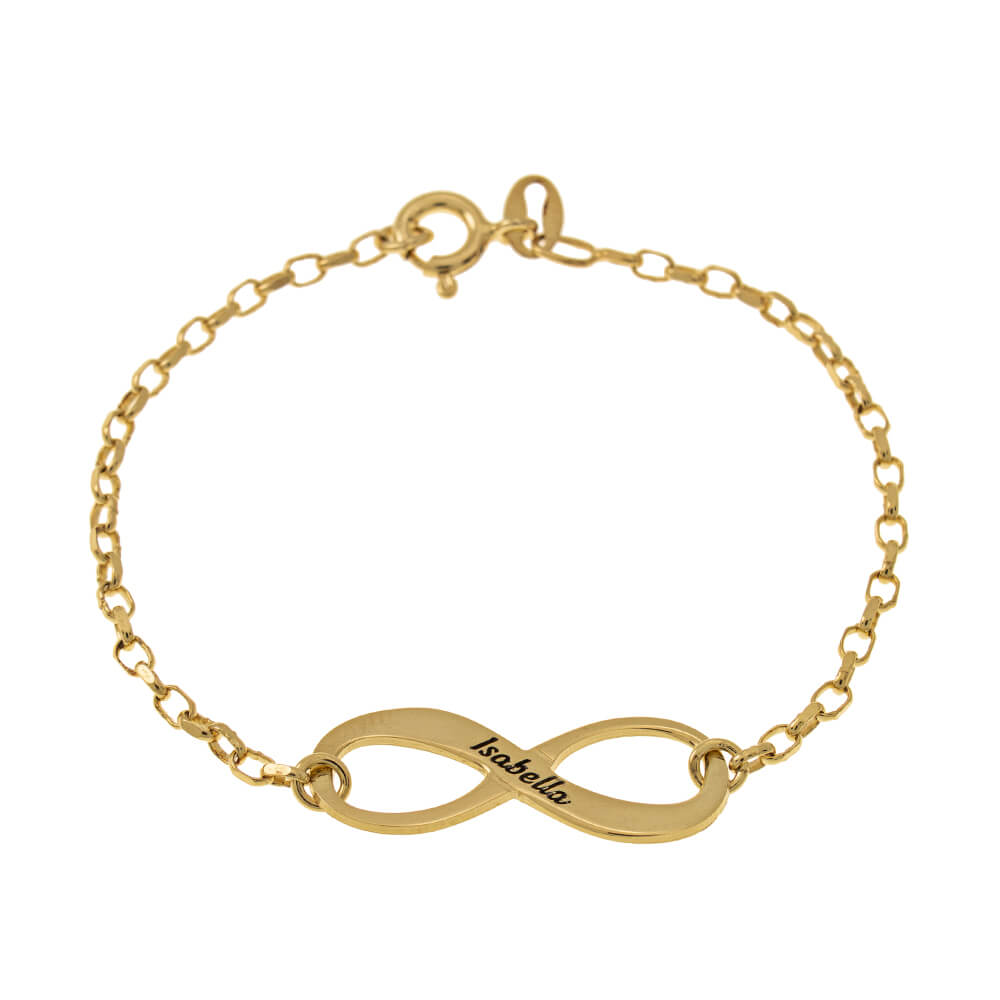 Engraved infinity Bracelet gold