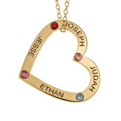 Family Heart Pendant with Names and Birthstones gold
