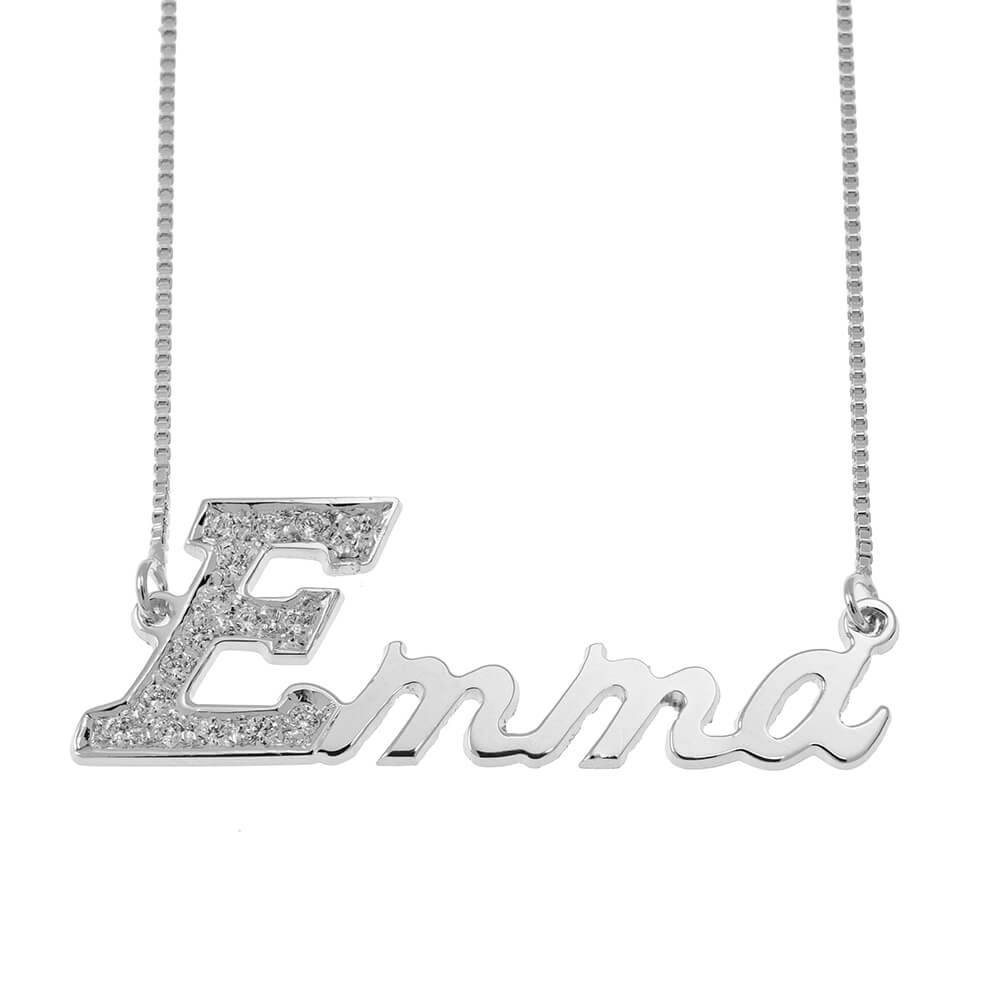 First Letter Name Necklace with Swarovski silver