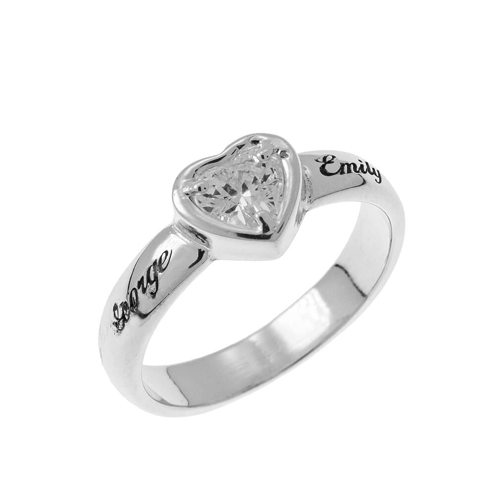 Gemstone Heart Promise Ring with Engraving silver