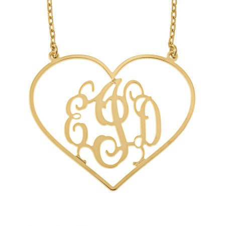 Heart Shape Monogram Necklace
