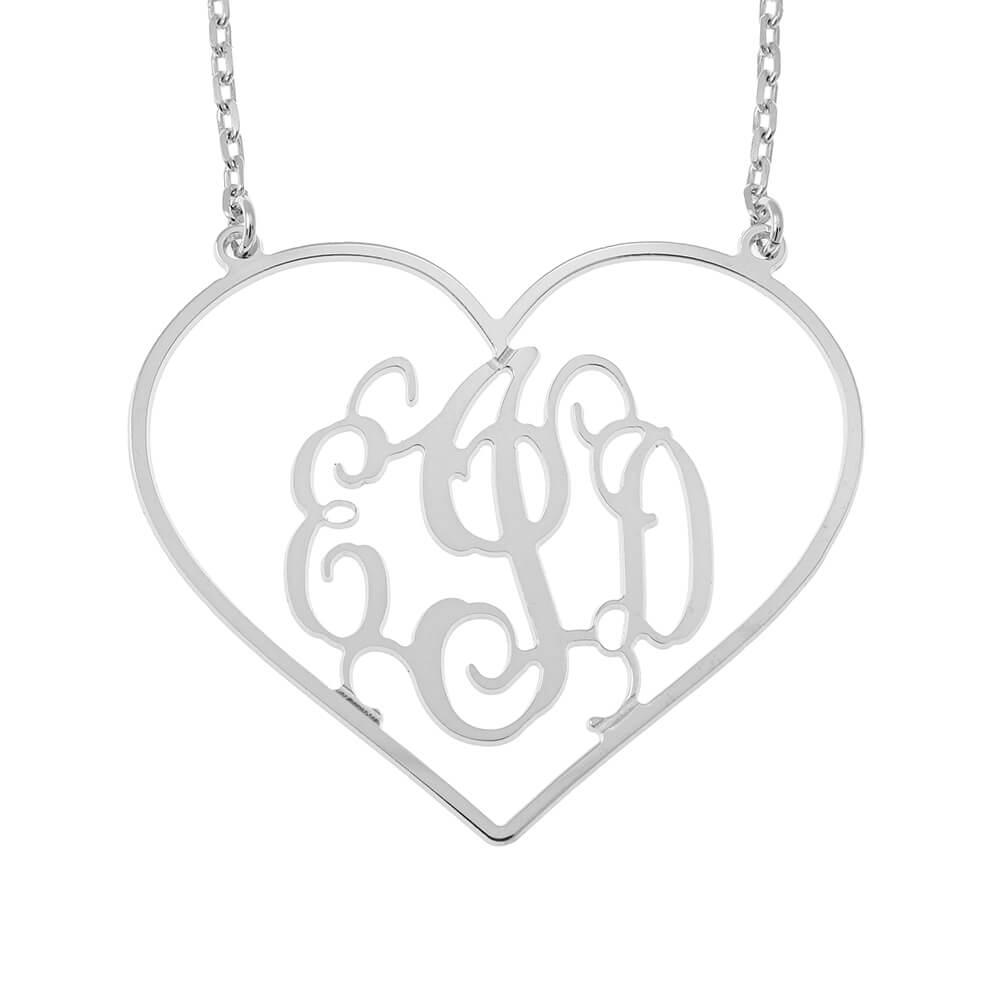 Heart Shape Monogram Necklace silver